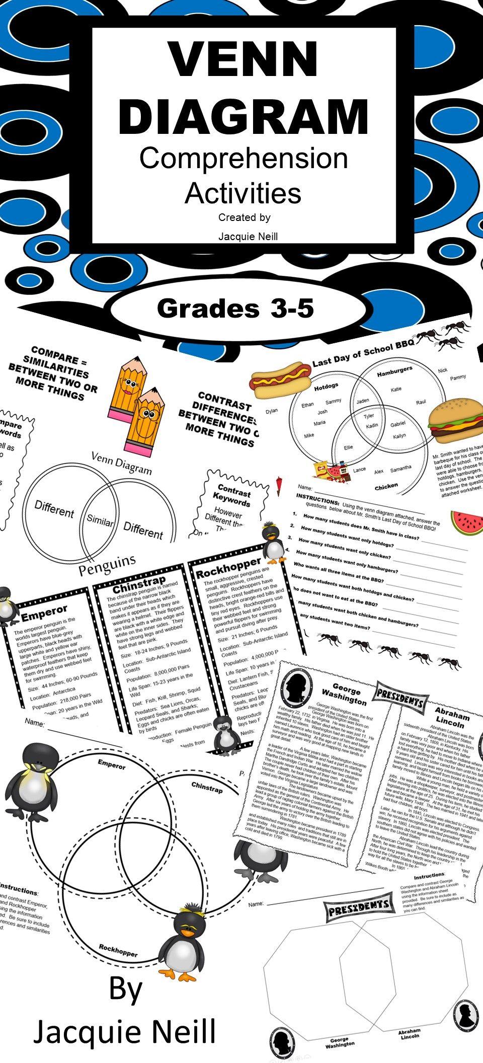 Venn Diagram Comprehension Activities | Teaching Ideas | Pinterest