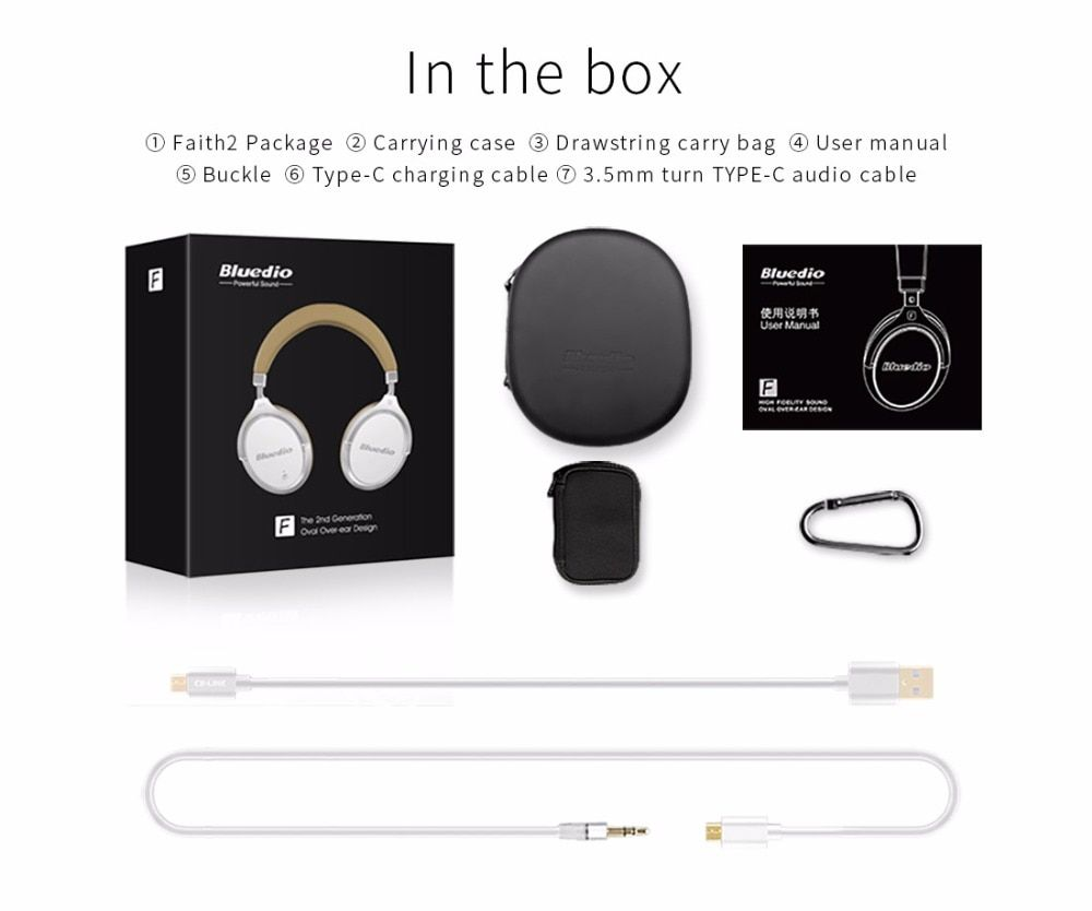 d9edb2b3deb Bluedio F2 headset with ANC Wireless Bluetooth Headphones with Microphone