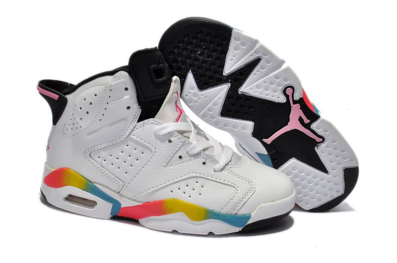 446a261b4d7 Kids Jordan 6 GS White Rainbow | Kids Jordan 6 | Nike air jordan 6 ...