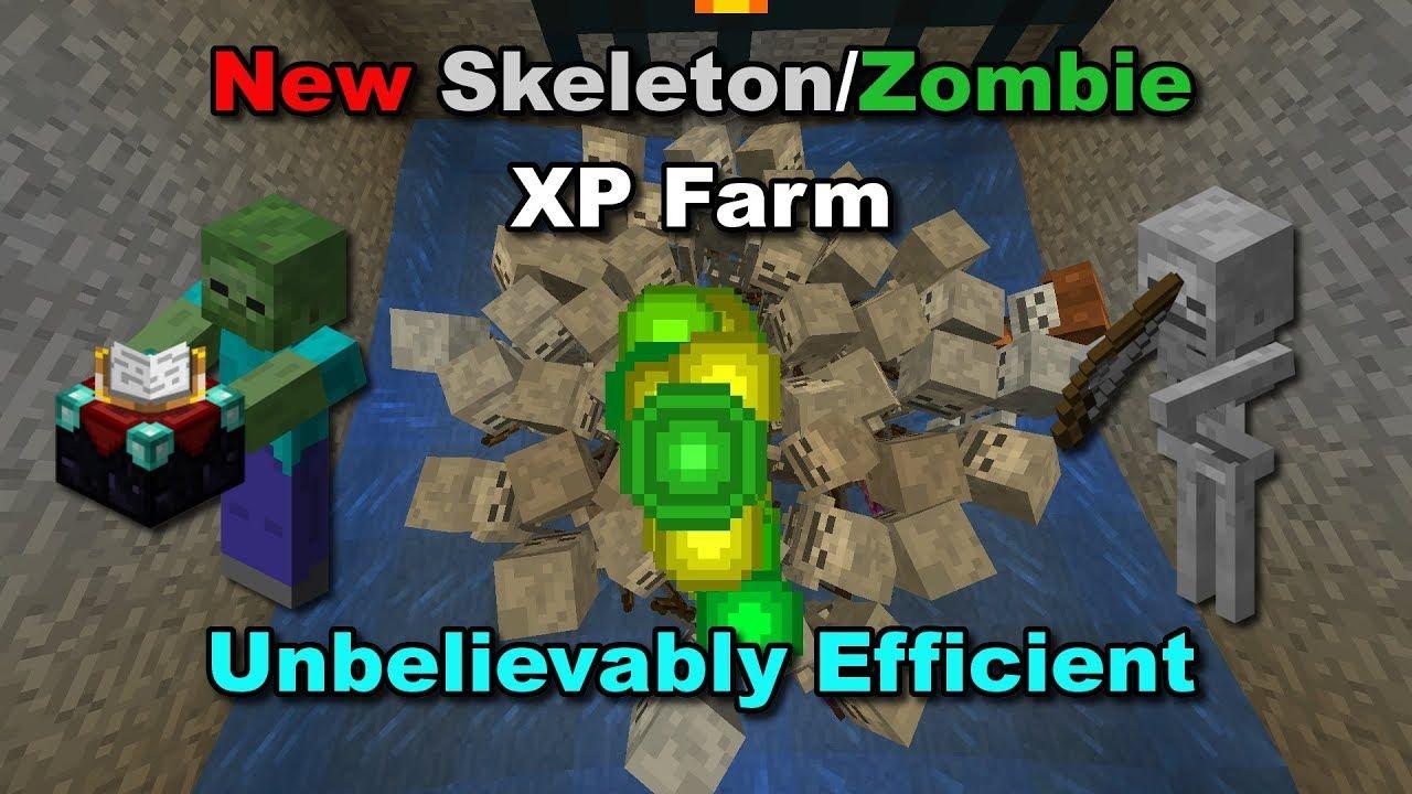 NEW OVERPOWERED SKELETON/ZOMBIE XP FARM (12.123+) - Minecraft