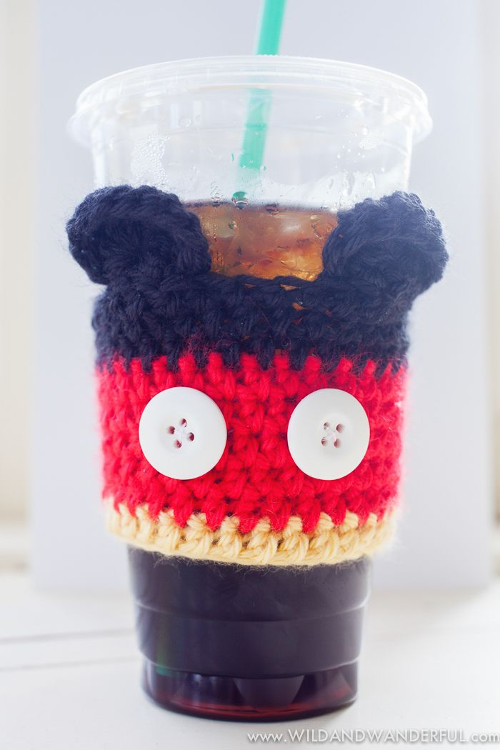 Mickey Mouse Coffee Cozy Free Crochet Pattern Coffee Cup