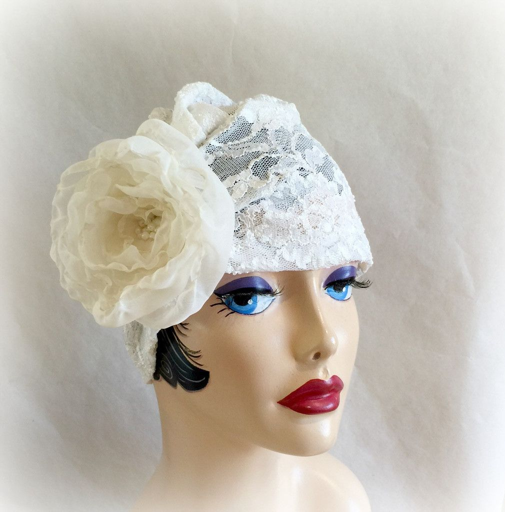 70404013d7b19 Cream Lace Turban Cloche