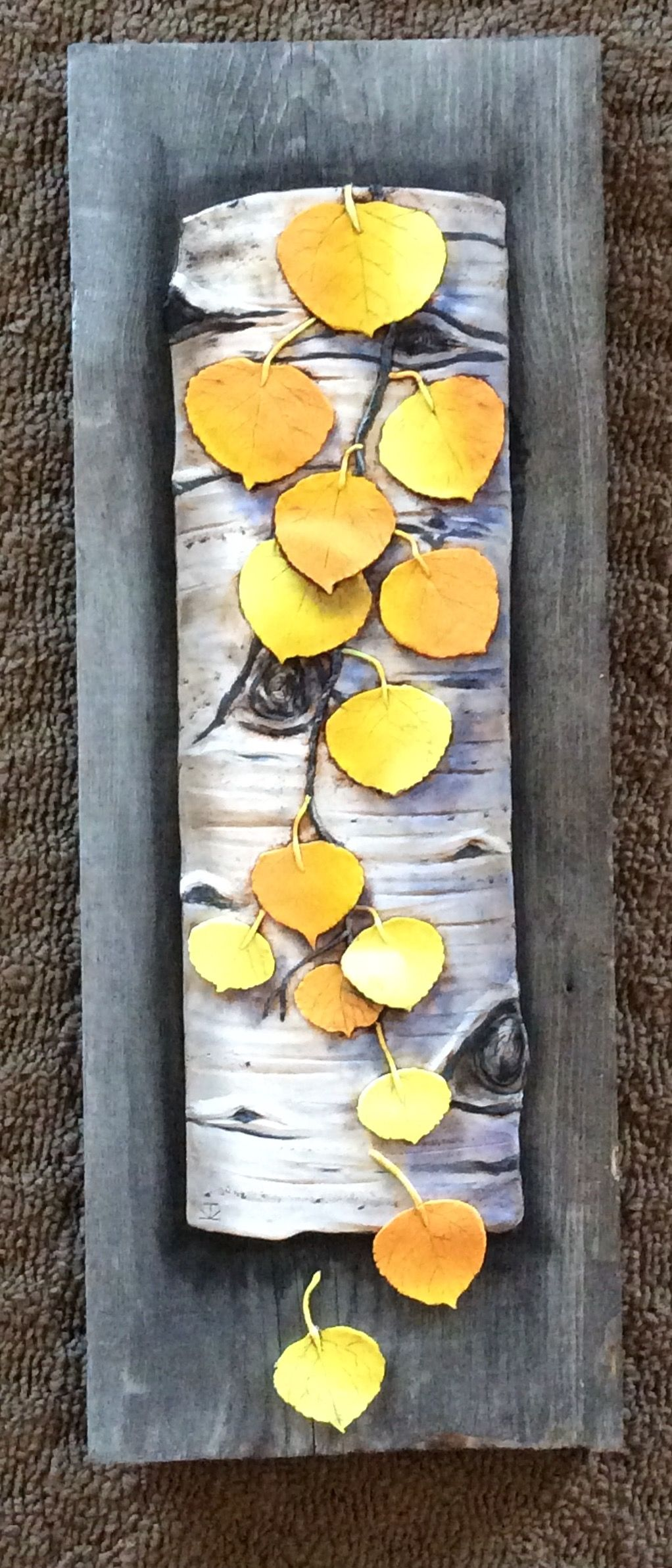 Aspen on Barn Wood, polymer clay wall art by Karen Brueggemann. | My ...