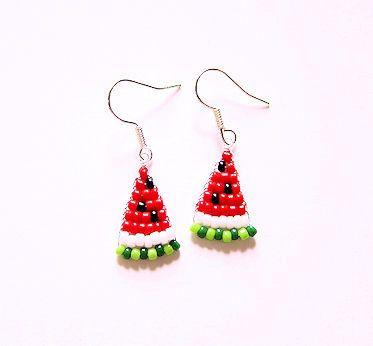Beaded Watermelon Slice Earrings Beaded Jewelry Diy Seed Bead
