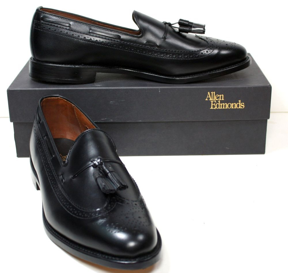 NIB Men's Allen Edmonds Manchester Black Wingtip Loafers Shoes $365 sz 12 D #AllenEdmonds #LoafersSlipOns