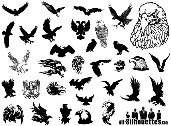 Free vector Eagles clipart silhouettes. Collection of vector ...