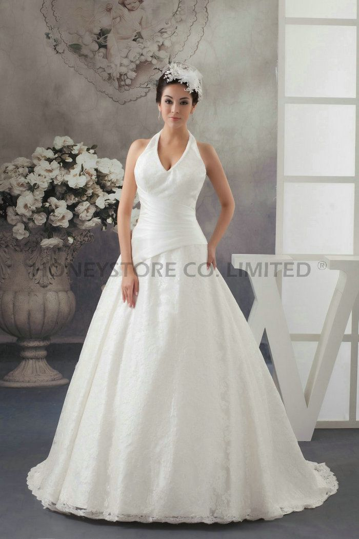 Aliexpress.com : Buy Fast Shipping A line Halter V Neck Sweep Train Lace with Ruched Wedding Dresses from Reliable lace a line wedding dresses suppliers on HONEYSTORE CO., LIMITED $505.38