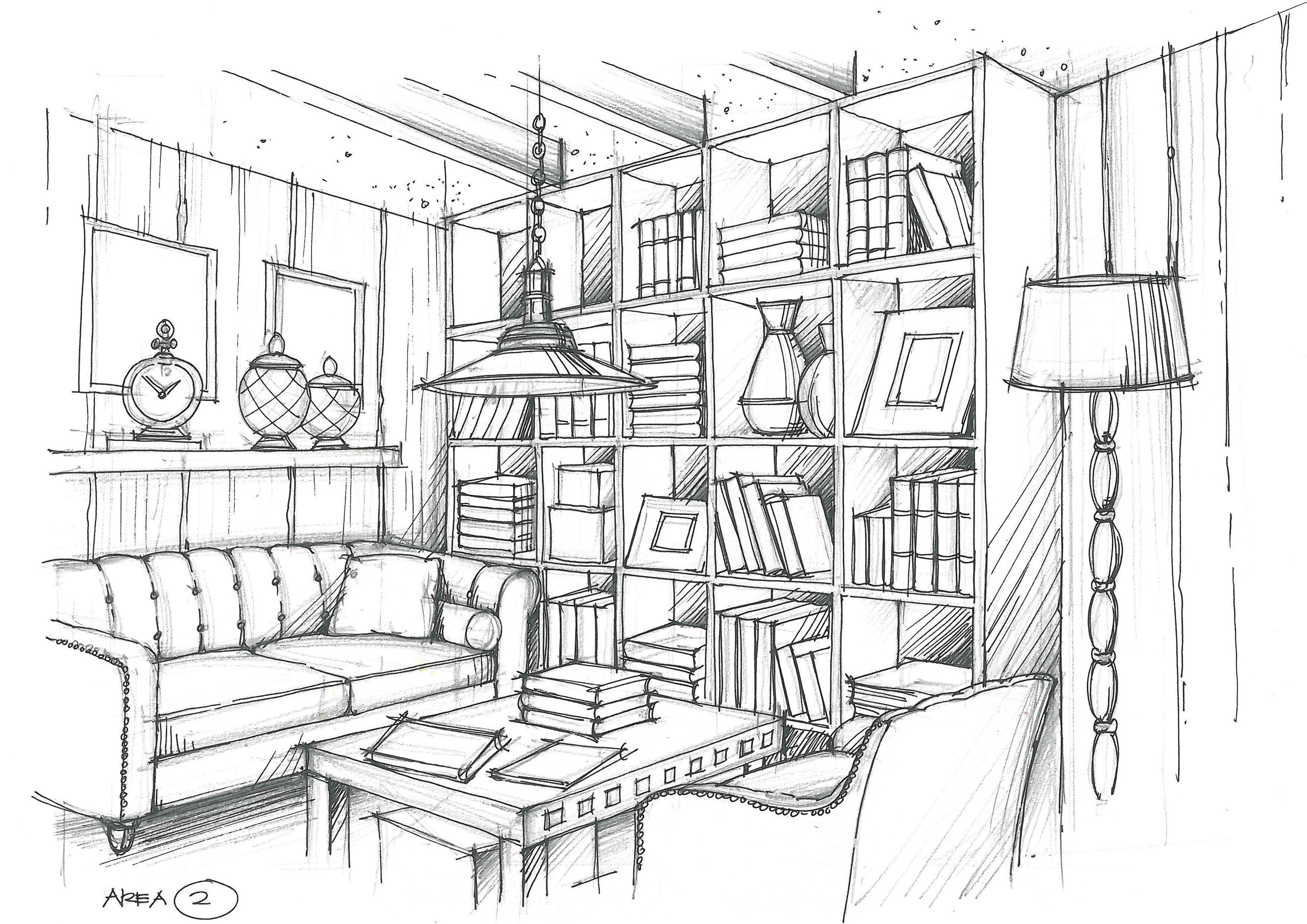 Living Room Esbocos Arquitetonicos Esboco Interior Ponto De Fuga
