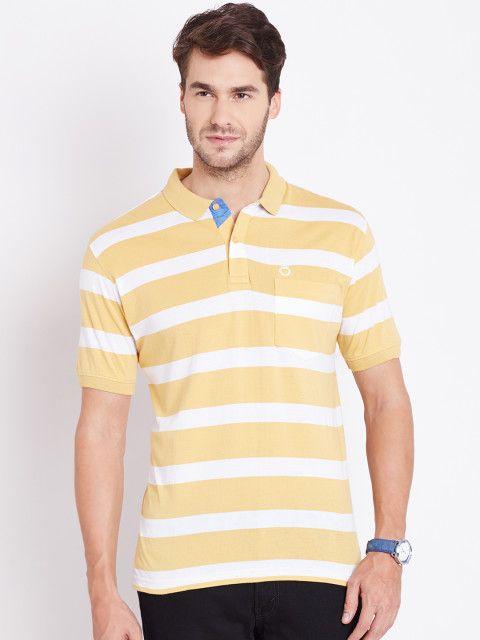 a1dc72f9ac5 Buy Duke Men Mustard Yellow Striped Polo T Shirt - Tshirts for Men ...