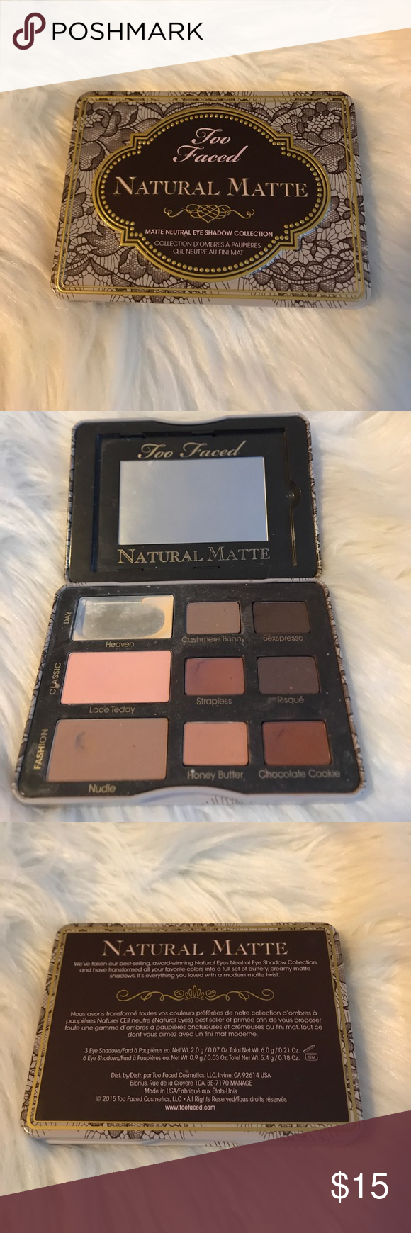 Too Faced Natural Matte Eyeshadow Palette 9 shades in this very small compact palette great for a vacation! Just used the bone shade as you can see Too Faced Makeup Eyeshadow
