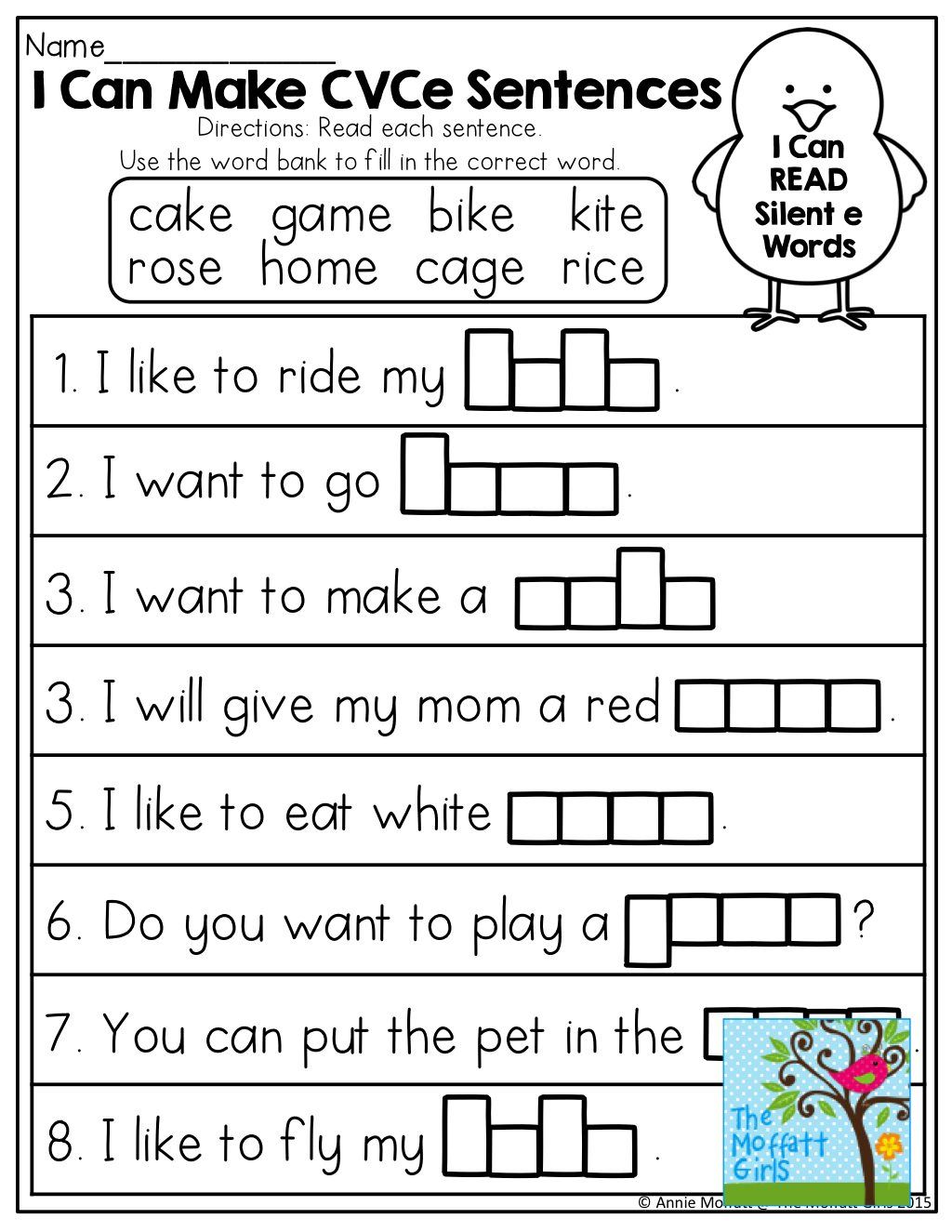 Worksheets Silent E Worksheets i can make cvce sentences tons of great printables guided english