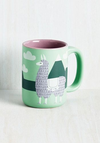 Alpaca A Punch Mug Jump Start Your Day By Sipping Revved Up Bevvie Out Of This Printed Available In December Green Modcloth