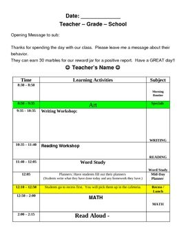 Substitute Lesson Plan Template Easy Organized Teaching - Substitute lesson plan template