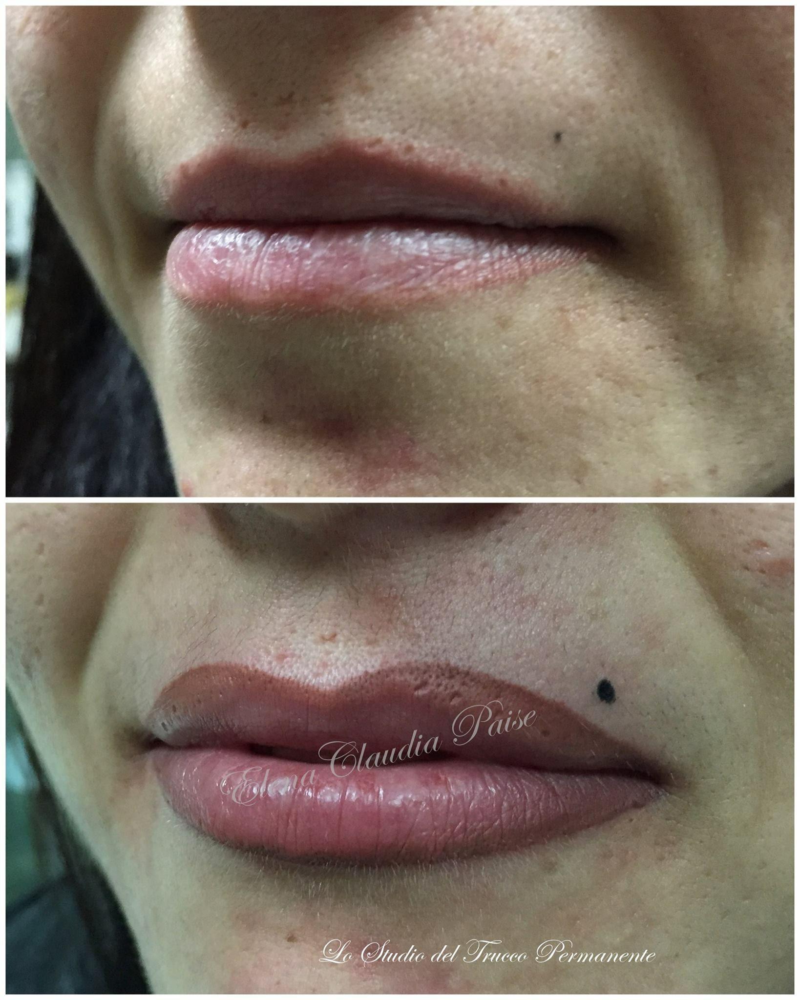 Ricostruzione del labbro superiore - contorno con riempimento e sfumatura ; completato dal neo- pigmenti biotek