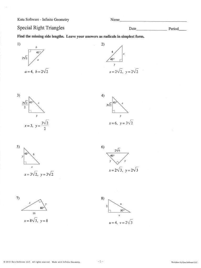 Special Right Triangles Practice Worksheet Special Right Triangles Ws Answers In 2020 Practices Worksheets Right Triangle Worksheet Template