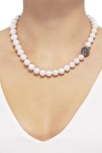 fe715b200caf22 Honora Genuine Pearl Necklace: 14K yellow gold, graduating white Ming cultured  pearls; sapphires , 18