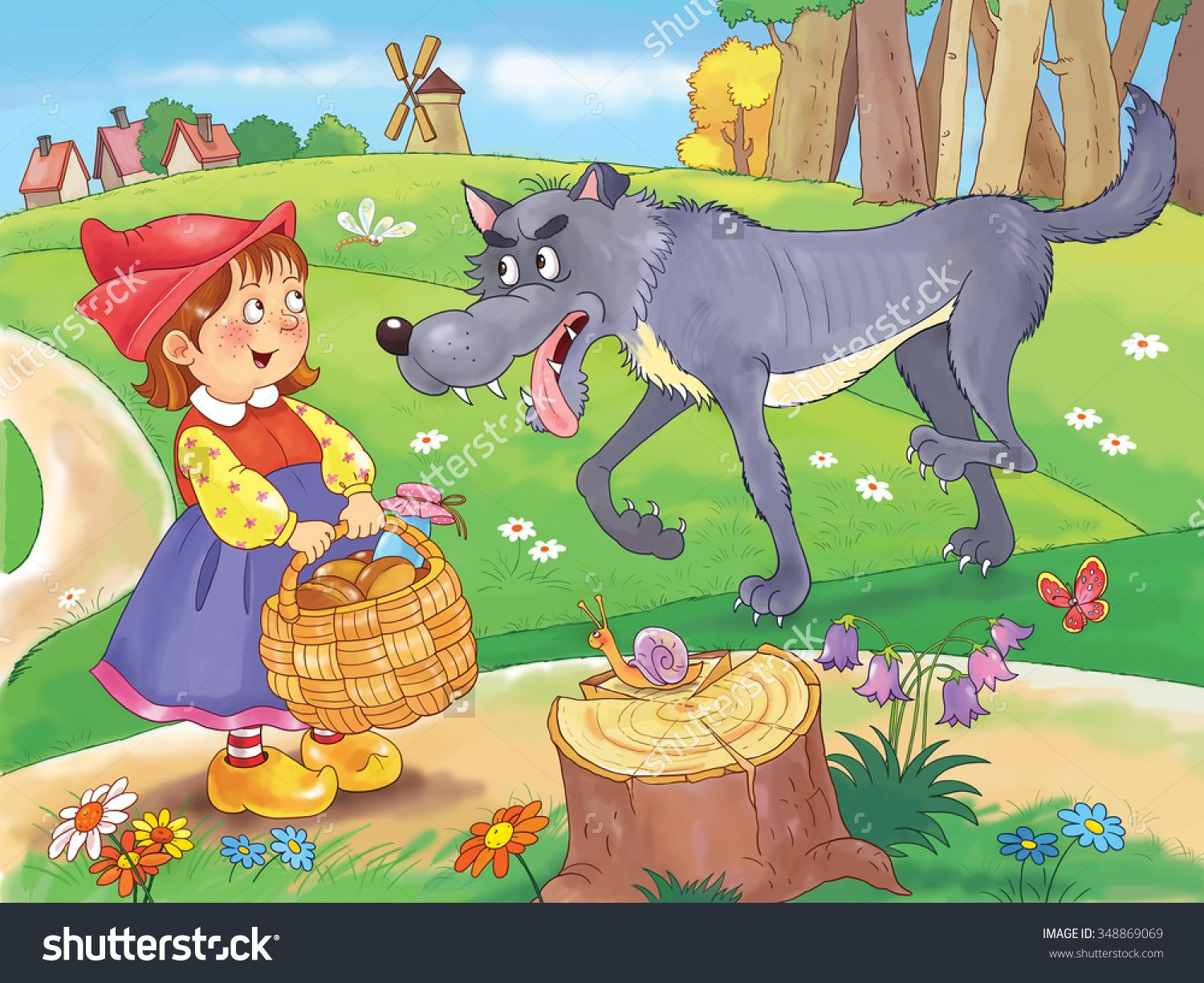 Little Red Riding Hood. Fairy tale. A cute girl with a basket full of food is talking to a big wolf on the road to her grandmother's house. Illustration for children. Cartoon character
