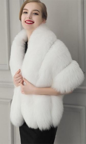 904444066 Freeze Frame White Faux Fur Shawl with Closure Wrap in 2019 | furs ...
