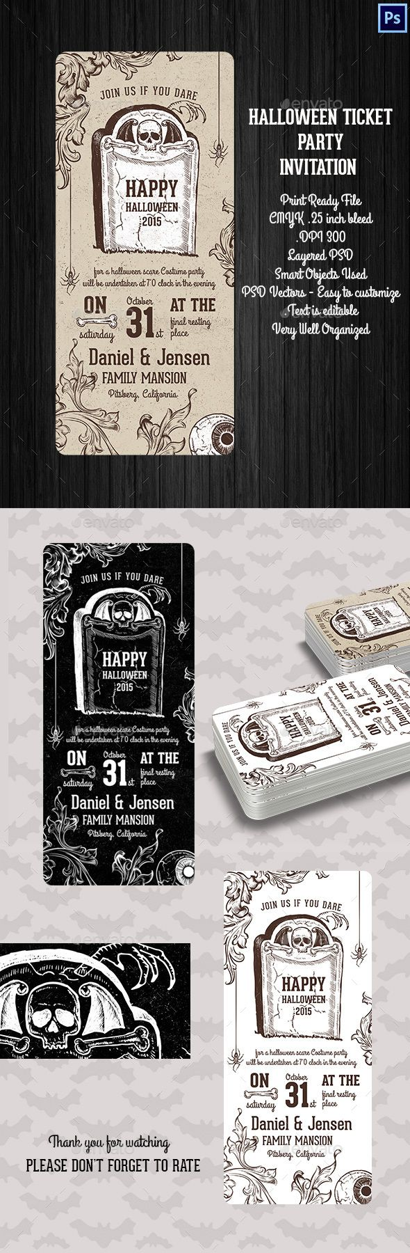 Halloween Ticket Party Invitation | Ticket template, Template and ...