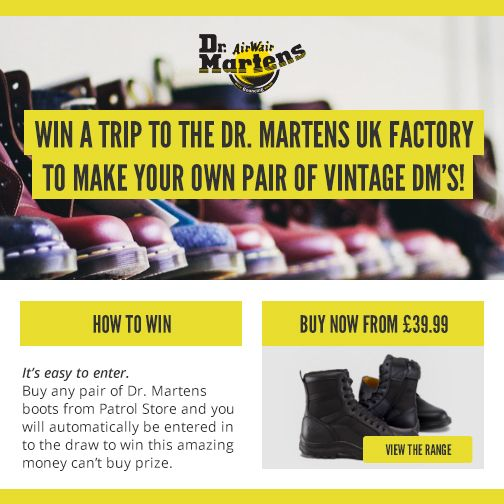 1d661c3e30 Win trip the the Dr Martens UK factory to make a pair of your own vintage