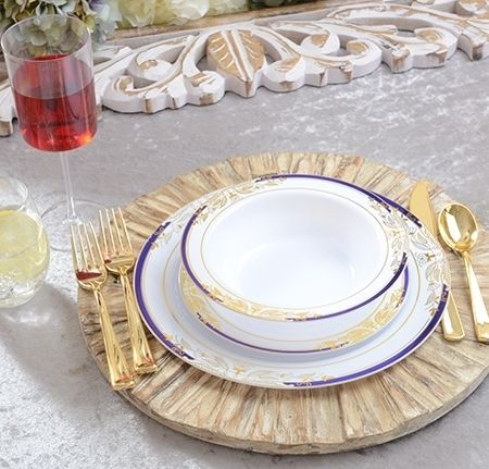 Beautiful white with blue u0026 gold trim plastic wedding plates comes in an elegant plate combo & Plastic Plate Set - Signature White with a Blue u0026 Gold Rim | Wedding ...