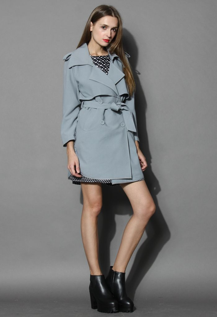 Chic Me Up Smoky Blue Double Breasted Trench Coat - Tops - Retro, Indie and Unique Fashion