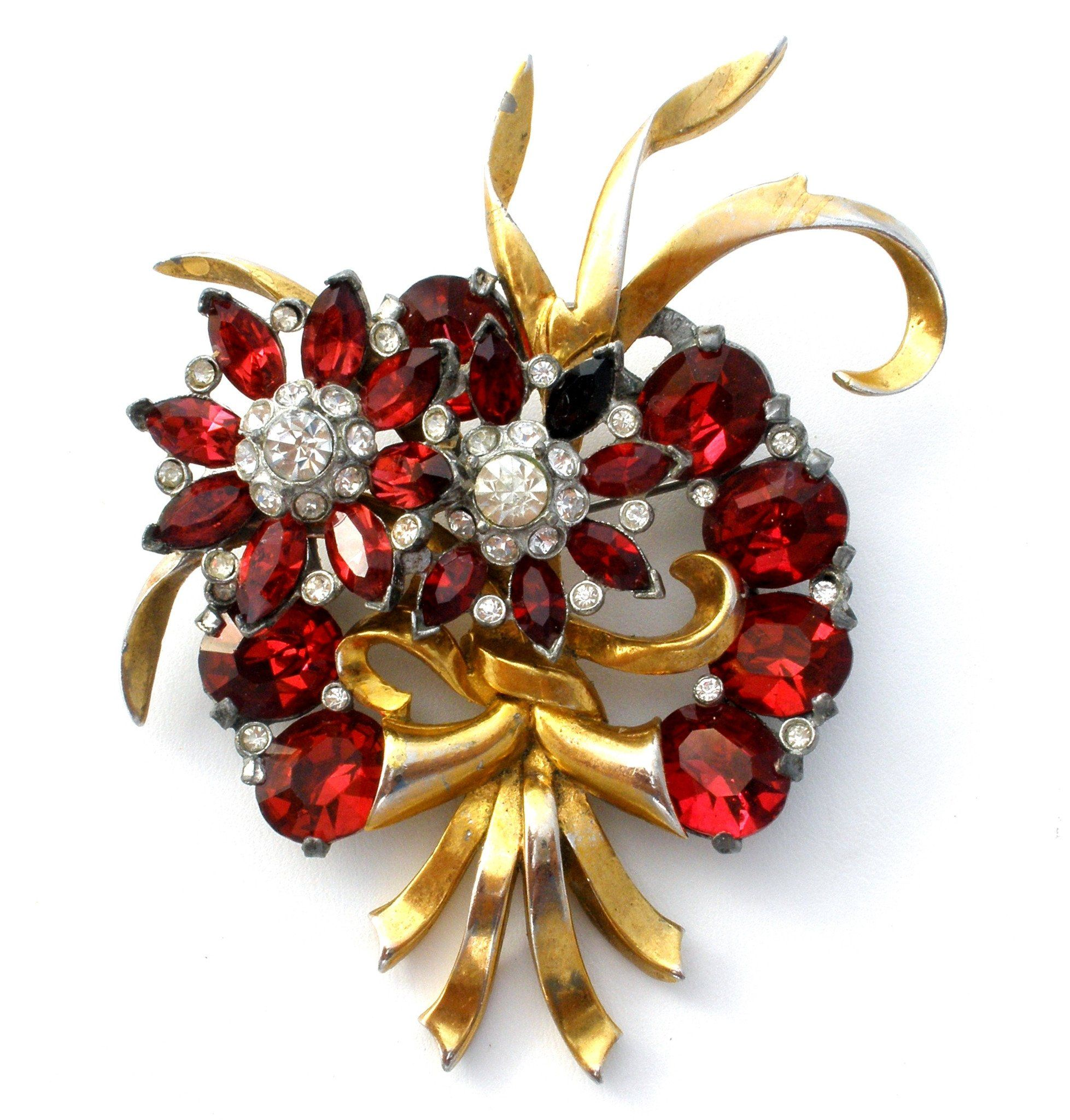 Red Rhinestone Pin Brooch Vintage 1940's (With images