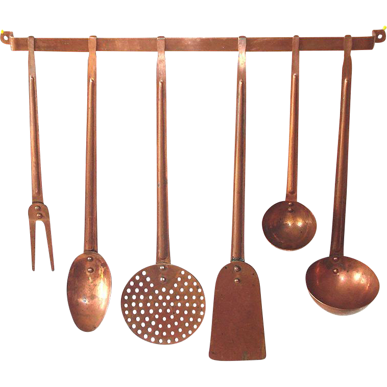 7 Piece Solid Copper Hanging Kitchen Utensils Set
