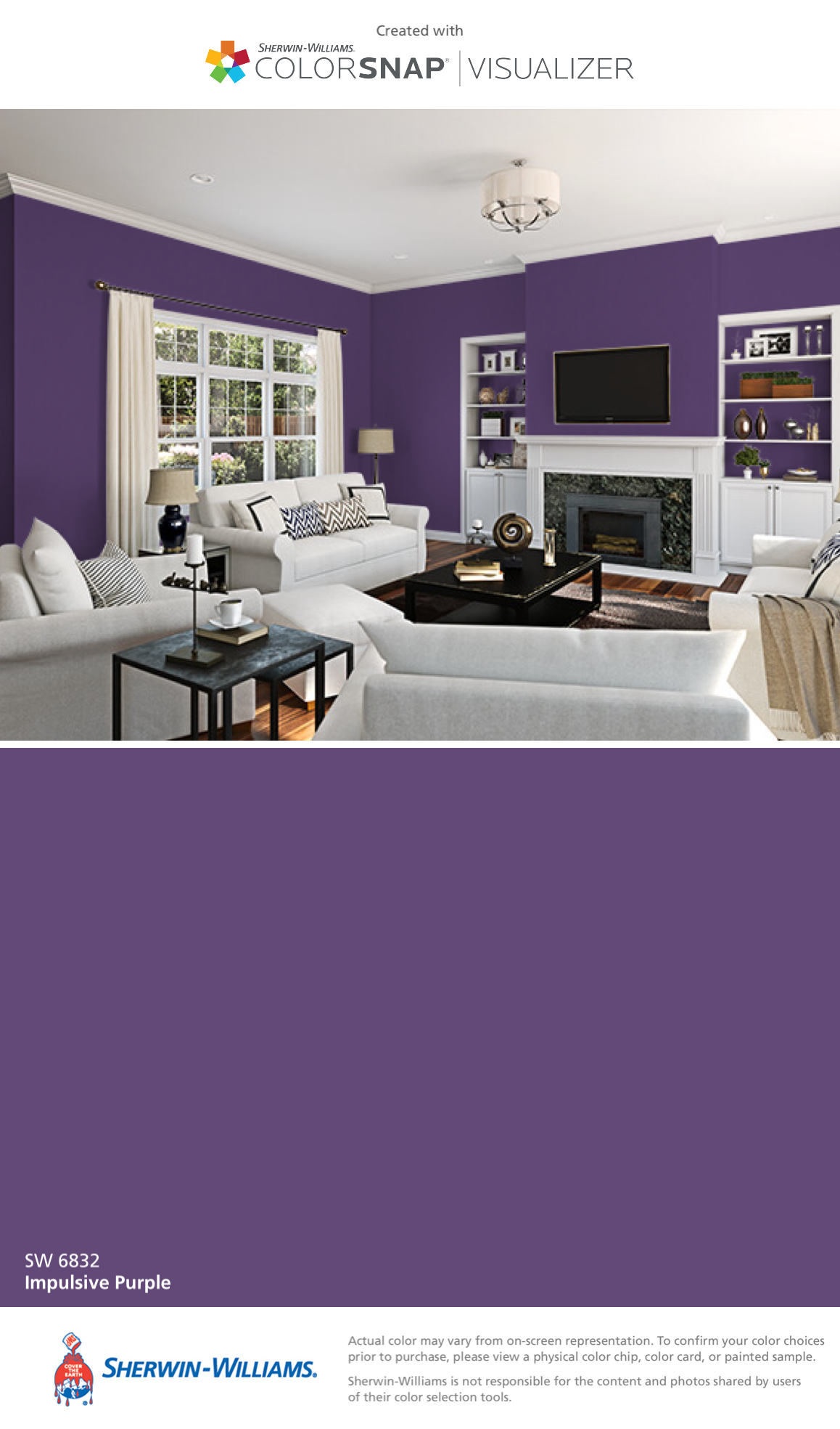 I found this color with colorsnap visualizer for iphone by sherwin williams impulsive purple sw