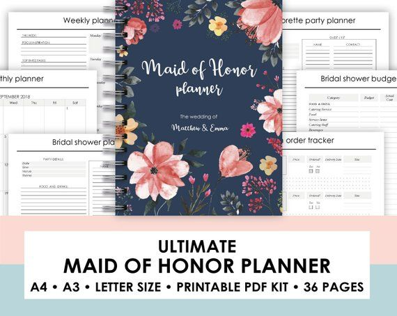 photograph relating to Maid of Honor Printable Planner referred to as Maid of Honor Planner, Bridesmaid, Wedding ceremony Planner, Wedding day