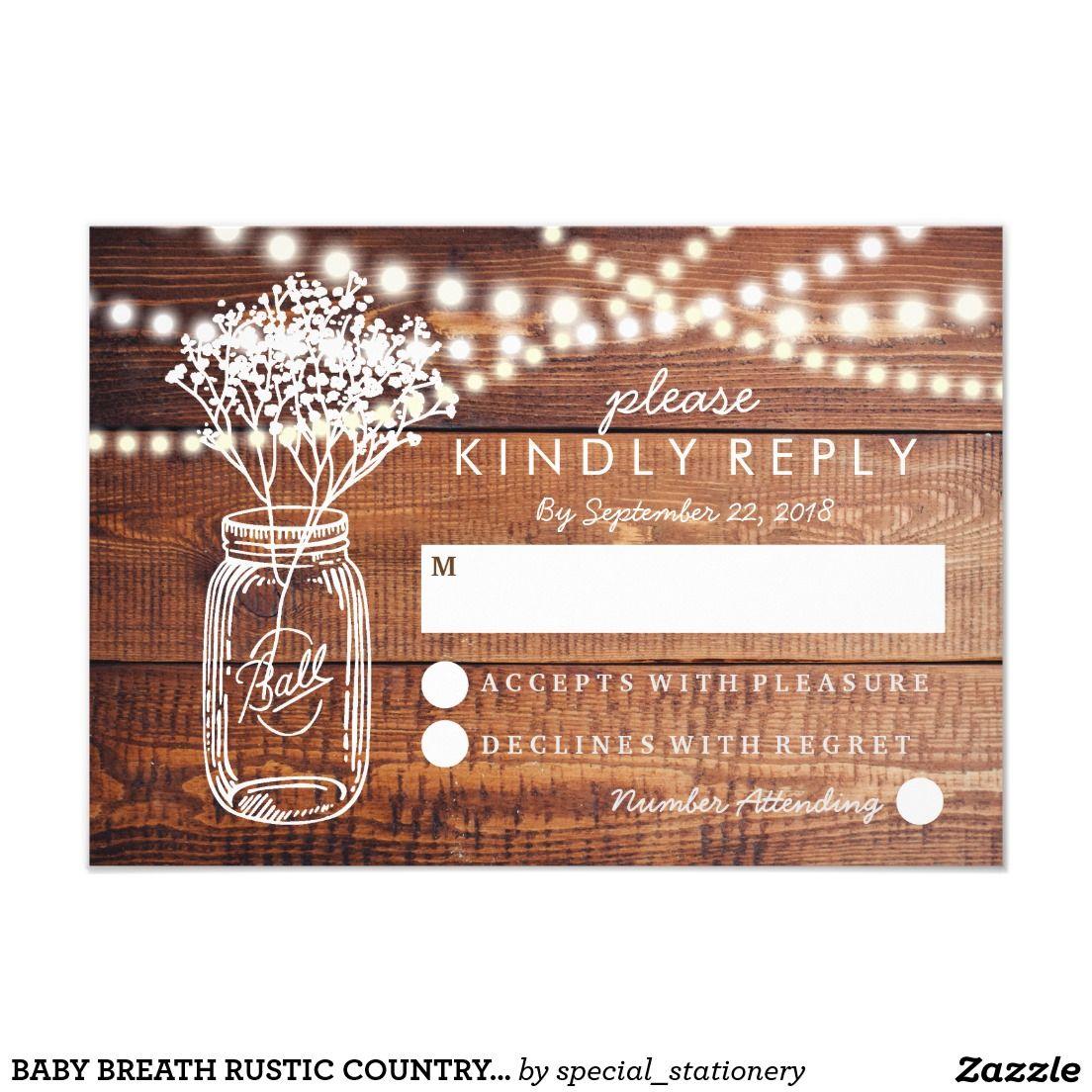 BABY BREATH RUSTIC COUNTRY MASON JAR WEDDING RSVP Zazzle