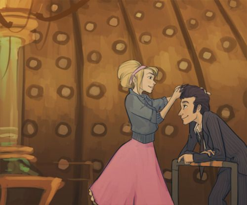 Rose fixing up the Doctor's hair