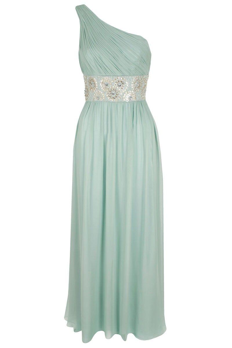 Diva Sophia Serina One Shoulder Maxi Dress Mint embellished gown ...
