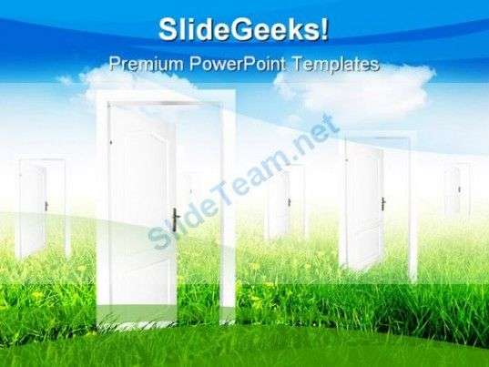 Doors To New World Nature PowerPoint Template 0910 #PowerPoint - nature powerpoint template
