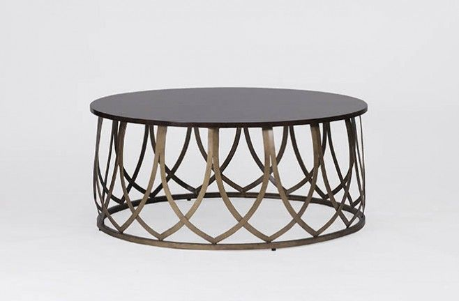 Jenkins Coffee Table Features A Metal Base And A Dark Cerejeira Top, Which  Will Create