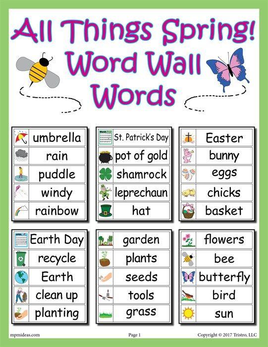 30 Spring Word Wall Words | Ingles niños, Preescolar y Niños