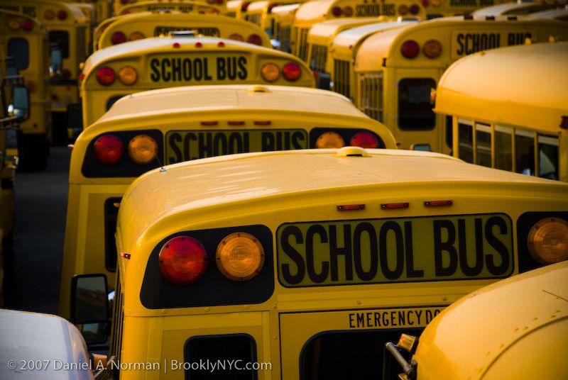Coney Island Yellow School Bus Yard Brooklyn New York With