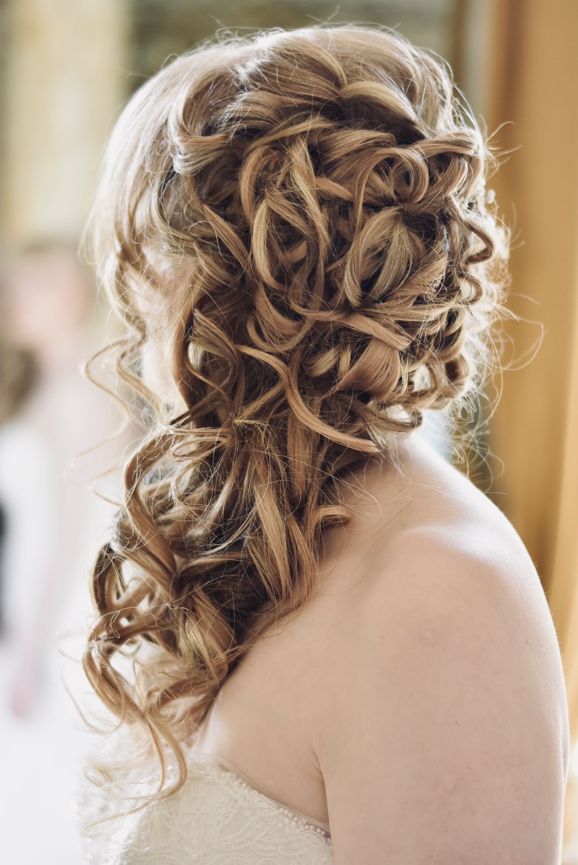 Wedding Hairstyles Beautiful Romantic Half Up Over The Shoulder Hair Styles Wedding Hairstyles Wedding Hair And Makeup