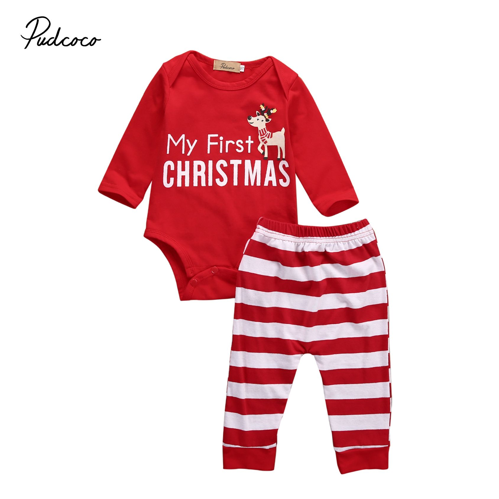 My 1st Christmas Newborn Infant Baby Girl Clothes Outfit Long Sleeve Striped Romper Headband 2Pcs Clothing Set