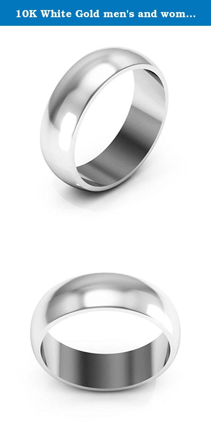 10K White Gold men's and women's plain wedding bands 6mm light half round, 8.75. 6mm light Half round 10K white gold men's and women's plain or traditional wedding bands polished to a high shine.