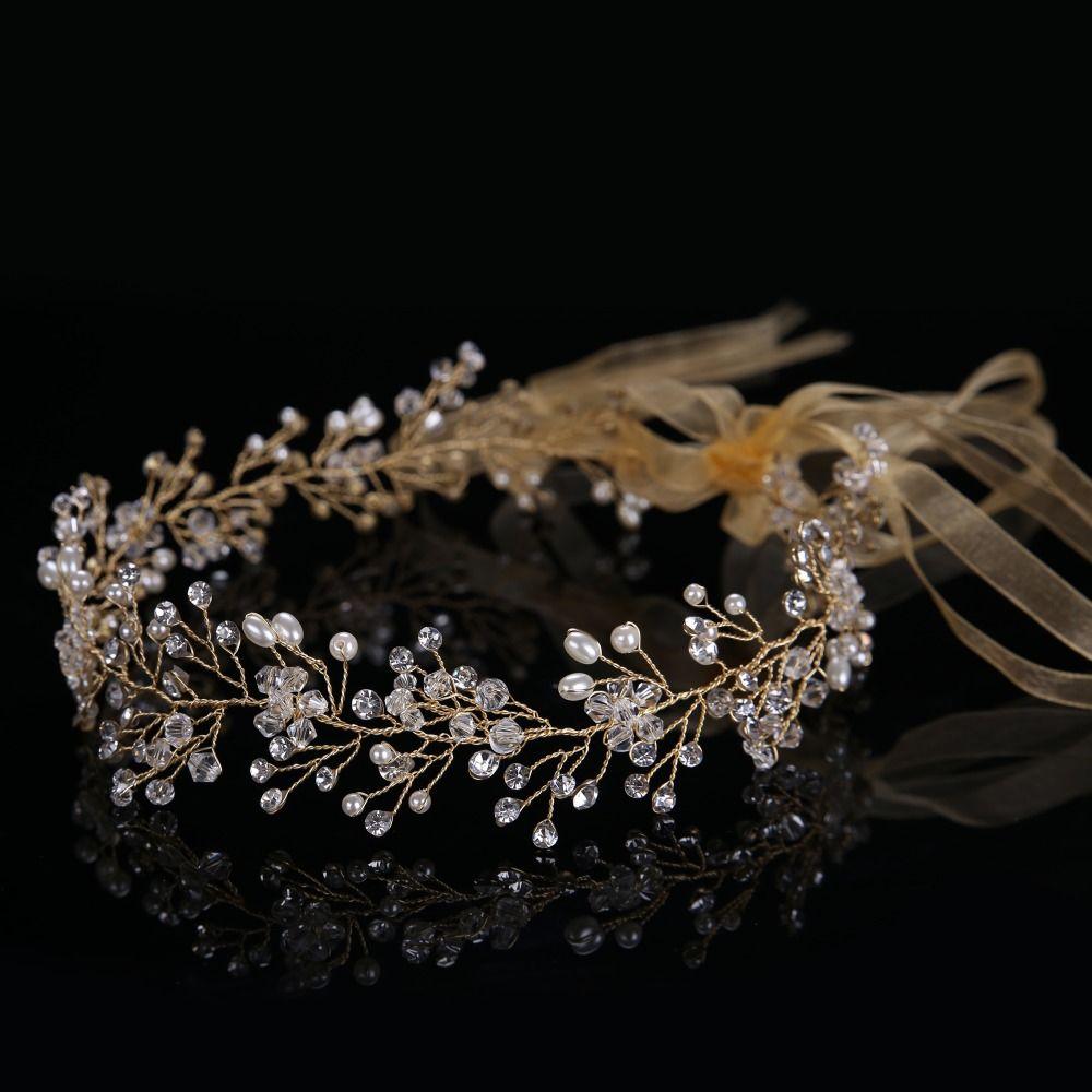 d6a6b12e30801 Luxury Handmade Crystal Bead Pearl Women Tiara Hairbands Elegant Hairbands  Engagement&Wedding Accessories CY161117-90