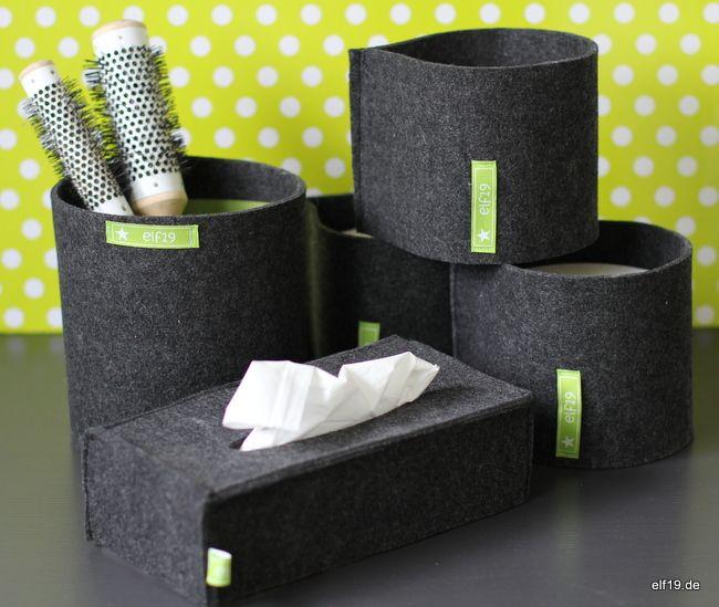 badezimmer deko aus filz n hen utensilo und k rbe pinterest n hen filzen und basteln mit. Black Bedroom Furniture Sets. Home Design Ideas