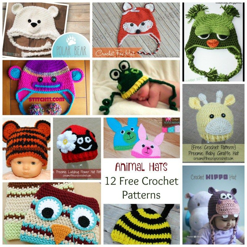 Crochet Animal Hats ~ 12 FREE Crochet Patterns | Crochet/Sewing ...