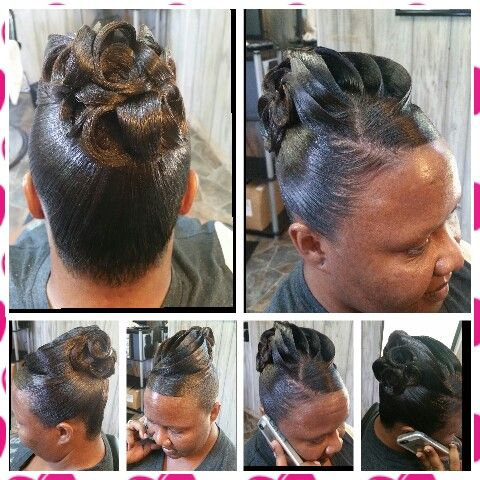 Pin Curl Updo Frenchtwistupdo Hair Styles Relaxed Hair Hair Updos
