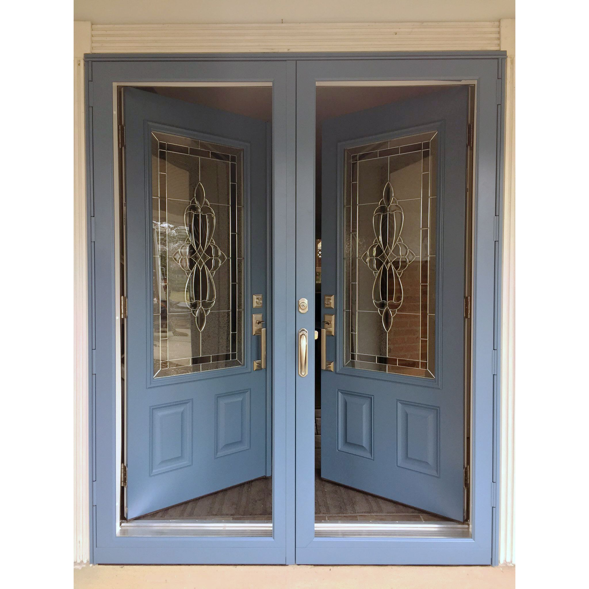 How Great Does This Set Of Double Doors Look Hm 601 Aluminum Storm Doors And Hme 268ks Entry Doo Aluminum Storm Doors Security Storm Doors Double Entry Doors