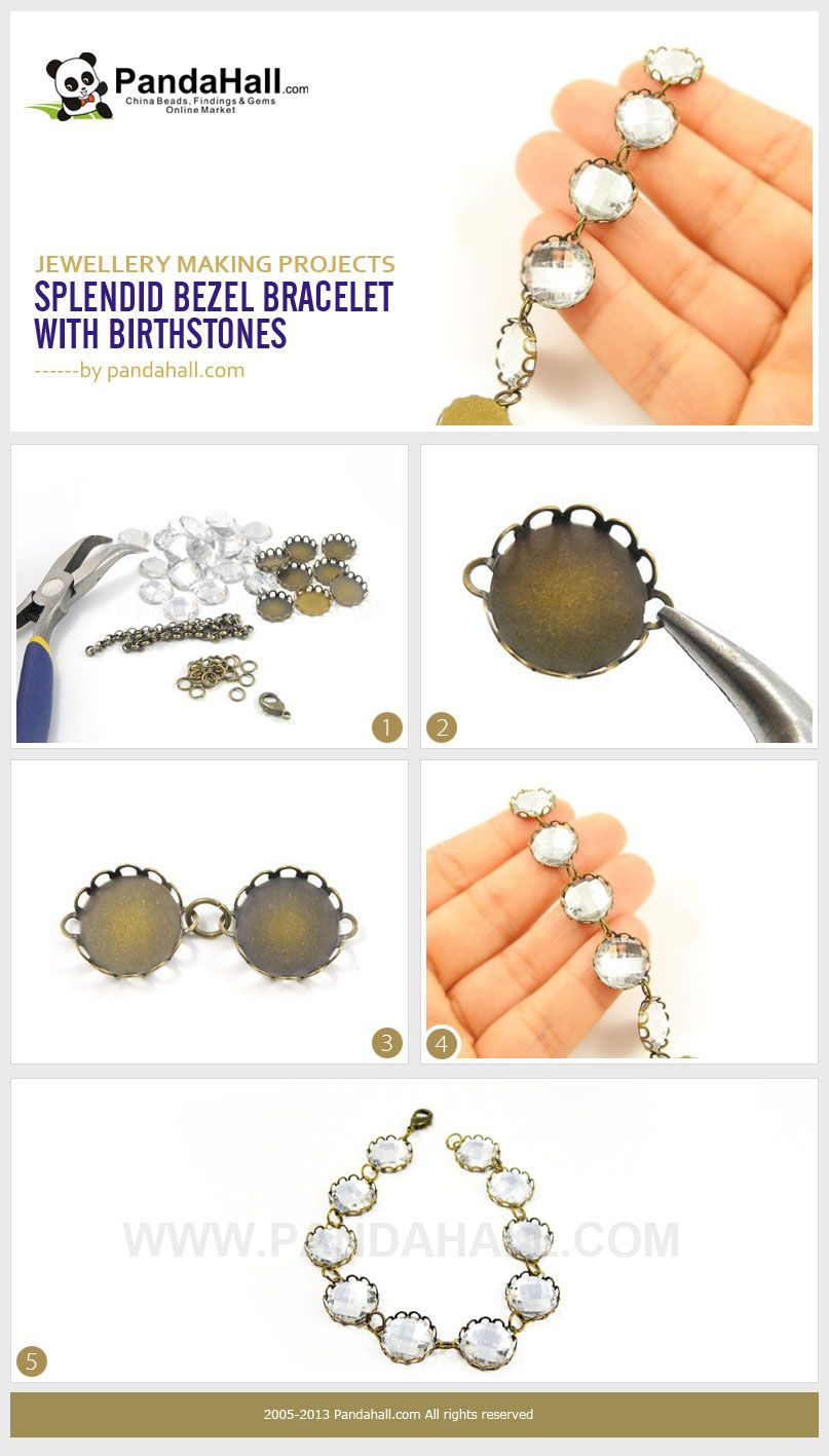 This stunning jewellery making project will instruct you on how to create a bracelet with birthstones. All the things that you'll need are birthstones of your choice, several cabochon settings, a clasp and some jumprings.