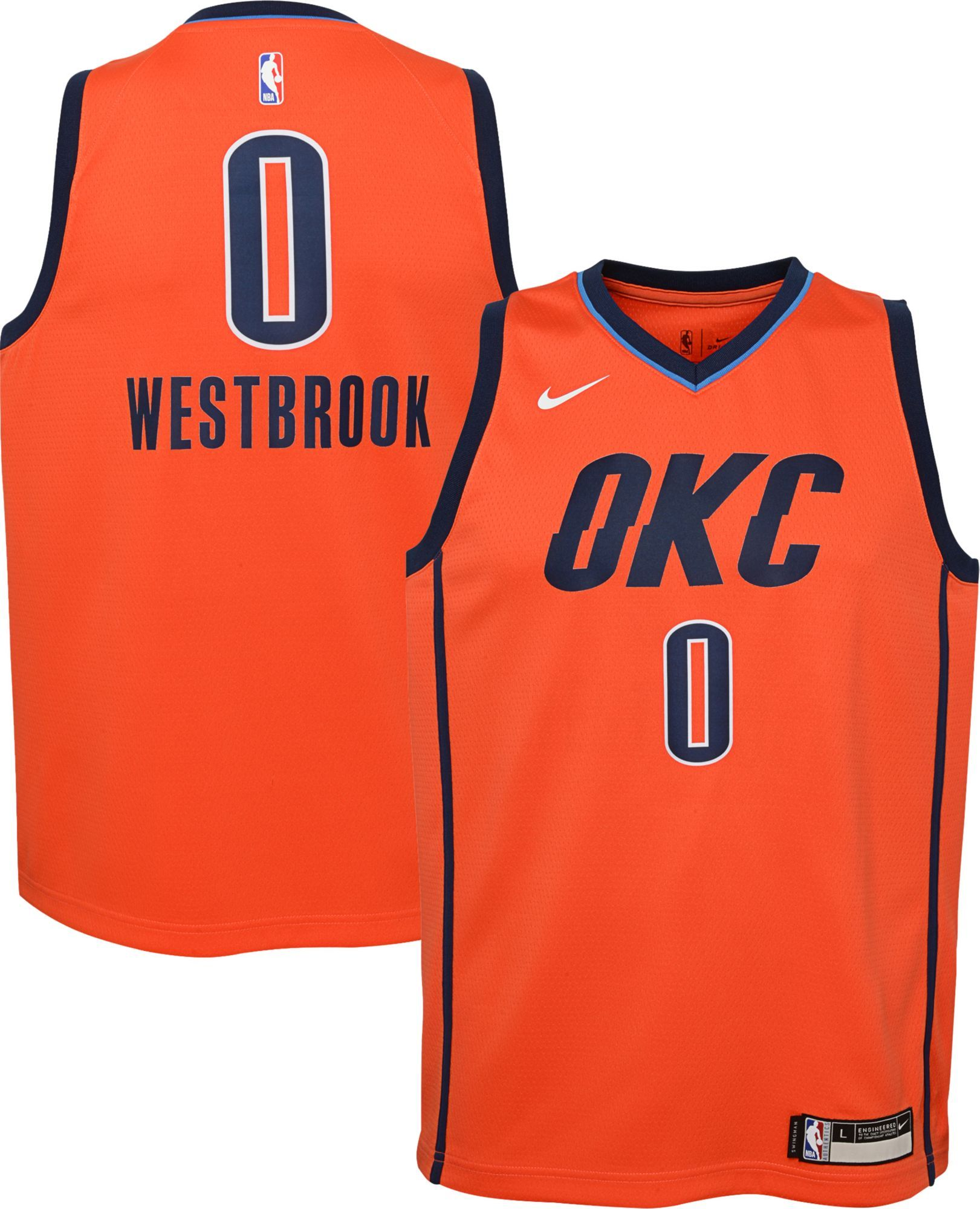 detailed look 31b90 9ef78 Nike Youth Oklahoma City Thunder Russell Westbrook Dri-FIT ...