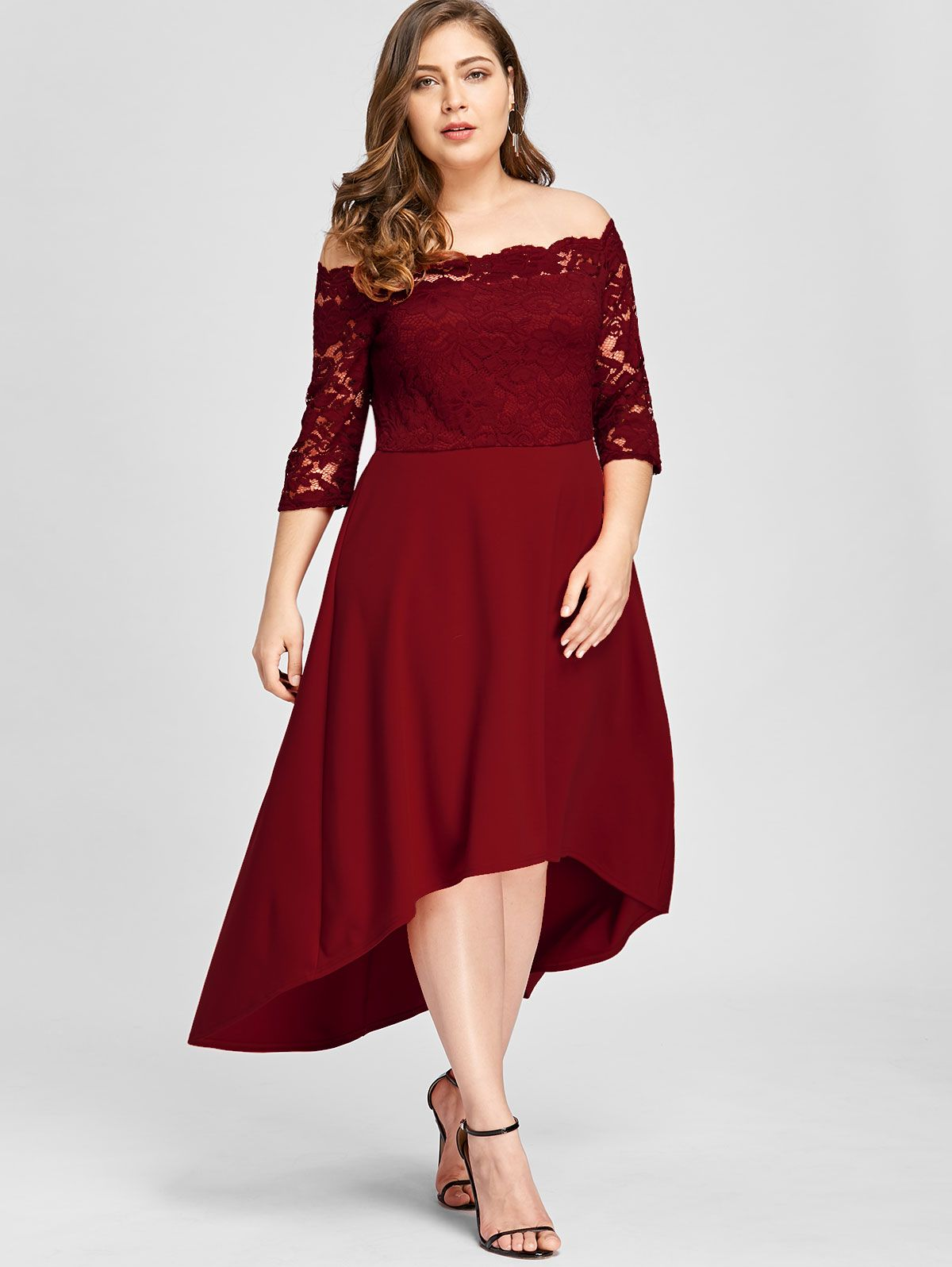 1f66556055f26 Free shipping worldwide.Plus Size High Low Off Shoulder Lace Dress.   plussize  lace  lacedress  reddress  offshoulder  fashion  womensfashion