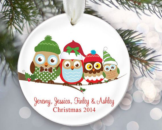 Personalized Family Christmas Ornament Owl Family of 4 Owls Ornament