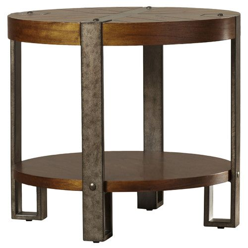 Features Rustic Style Comes With Fixed Bottom Shelf Base Levelers Shape Round Design Table Style Old Round End Tables End Tables Side Table